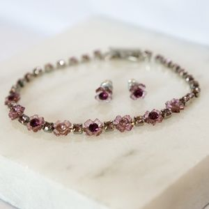 Rhinestone Flower Bracelet + Earrings